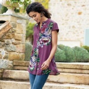 Soft Surroundings | Purple Floral Blouse | Small